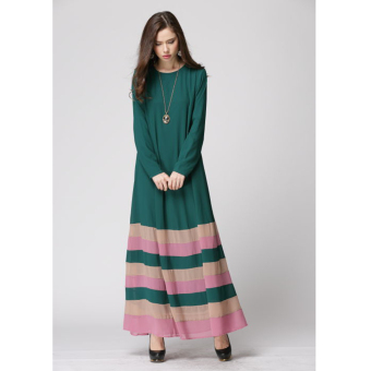 Muslim Women Long-sleeved Rainbow Stripe Dress (Green) Price Philippines