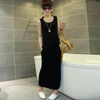 Black O-Neck Straight Long Dress Price Philippines