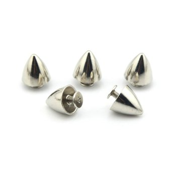 eMylo 50pcs 13x12mm Bullet Cone Spikes Screwback DIY Craft Cool Punk Rivets for Bag Shoes Jeans Bracelet (Silver) Price Philippines