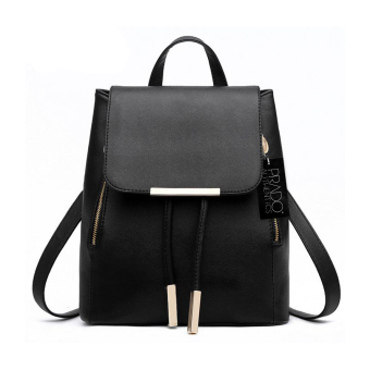 Prado Authentics Korean Premium Leather Backpack Bag - Black - intl Price Philippines