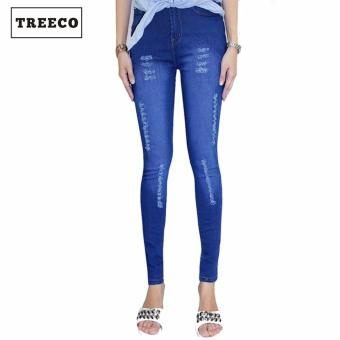 Treeco Fashion Women's Ripped Jogger Pants Blue Price Philippines