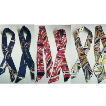 Jessica Silk Twilly Bag Scarf Set Of 3 (Navy Blue, Pink, Black/Grey) Price Philippines