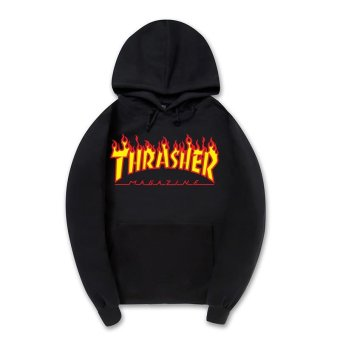 Harga Men's Printed Hoodie Hoodie Somber-toned Flame Pure Cotton Thickening Thrasher Hoodies - intl