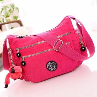 Harga Skadi JQE-8618 Side Pockets Korean Fashion Bag Nylon Waterproof Big Size Multi-pocket Bag Crossbody Shoulder Hand Bag Best Gift With Free Bag Charm(Rose Pink)