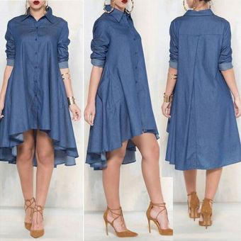 Women Long Sleeve Plus Size Midi Jean Dress - Intl Price Philippines