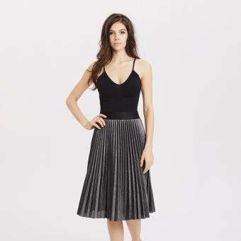 Harga Stitch silver metallic pleat skirt (Silver and Black) - intl