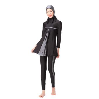 Full Cover Women Muslim Swimsuit with Detachable Hijab - Intl Price Philippines