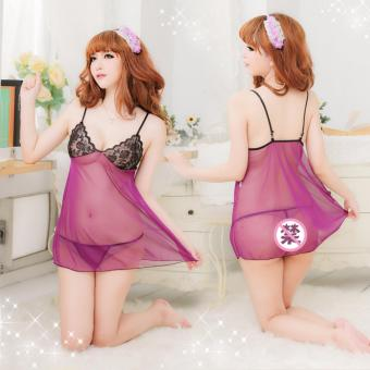 Harga Skadi Hot Girl #K6204 Playboy Women Girlfriend Wife 2 Piece Sweet Romantic Sexy Lady Lingerie Baby Doll Dress See-through Lace Sleepwear Night Gown Wedding Birthday Gift With Panty Best Gift(Purple)FREE Mini Make Up Mirror