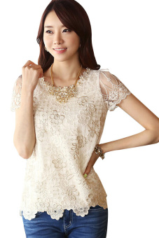 Cyber Women's Chiffon Lace Blouse Shirt (Brown) Price Philippines