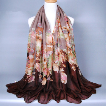 Voile Floral Printed Abaya Muslim Head Coverings Scarf Hoofddoek (Brown) Price Philippines