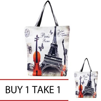 Harga London Fashion Tote Bag (Gray) Buy 1 Take 1