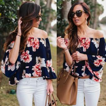 Sexy Women Off Shoulder 3/4 Sleeve Floral Ruffles Blouse Tops - intl Price Philippines