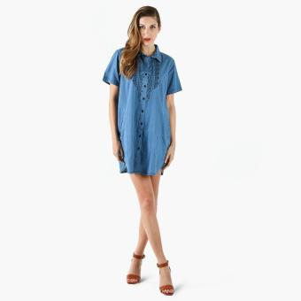 Harga SM Woman Chambray Button Down Embroidered Shirt Dress (Denim)