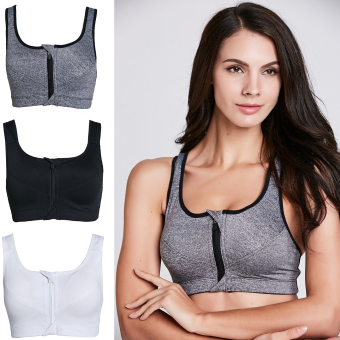Harga Stitch 3 Pack High Impact Zip Front Wire Free Sports Bra (White, Grey, Black)(Export)