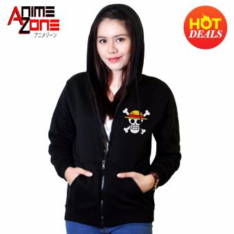 ANIME ZONE ONE PIECE Anime Straw Hat Pirates Unisex Zip-Up Outdoor Hoodie Jacket (Black) Price Philippines