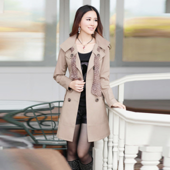 Cyber Womens Double-Breasted Long Trench Jacket Coat Scarf (Khaki) Price Philippines
