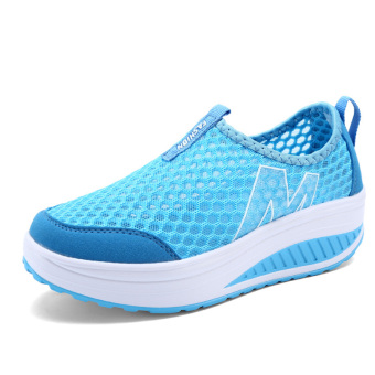 Harga Lechgo Women's Fashion Mesh Casual Shoes Thick Rubber Soles AD003 (Blue) - intl