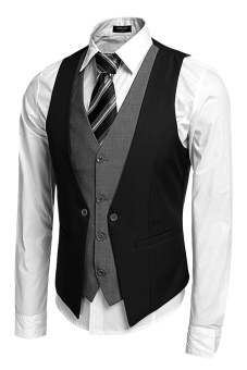 Cyber Coofandy Men's Formal Business Suit Vest ( Black ) Price Philippines