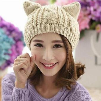 Harga Ai Home Lovely Women Cat Ears Knitted Beanie Hat Elastic Warm Cap (Beige)