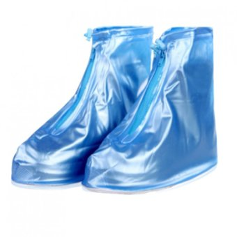 Harga Waterproof Rain Shoes Cover Unisex Rain Boots Waterproof Slip-resistant Overshoes Shoes Covers Rain Gear (Blue)