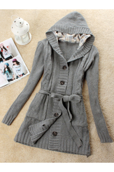 Cyber Women Long Sleeve Hoodie Coat Trench Sweater (Grey) Price Philippines