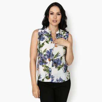 Harga SM Woman Career Floral Sleeveless Blouse (Blue)