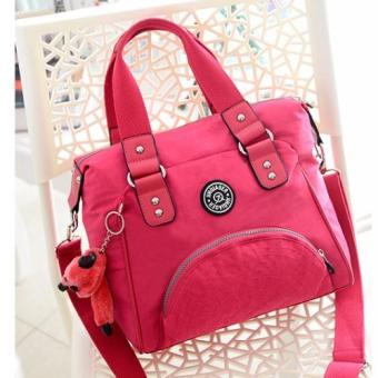Harga Skadi JQE-2018 Women's 2 Way Korean Fashion Bag Nylon Waterproof Big Size Multi-pocket Travel Bag Crossbody Tote Bag Best Gift With Free Bag Charm(Rose Pink)