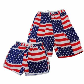Summer Couple American Flag Design Casual Shorts Beach Wear Swim Wear(Red/Blue) Price Philippines