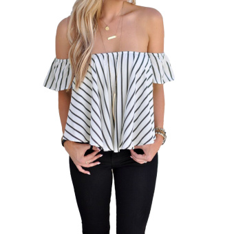 Harga Women Blouse Striped Off Shoulder Short Sleeve Summer Casual Tops Shirts Crop Top White - intl