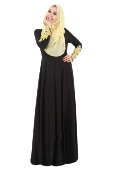 New Fashion Abaya Long Sleeves Muslim Wear Chiffon Maxi Dress With Cuff Lace(Black) Price Philippines