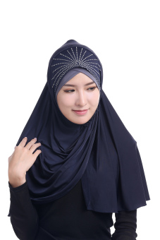 Agapeon New Fashion Muslim Instant Hijab Ice Silk Tudung(Navy Blue) Price Philippines