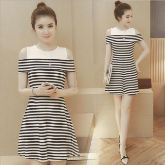 Harga Outlet Medium length black and white striped skirt Black - intl