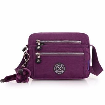 Harga Skadi JQE-6370 Women's Korean Fashion Bag Nylon Waterproof Multi-pocket Mini Bag Crossbody Shoulder Hand Bag Best Gift With Free Bag Charm(Purple)