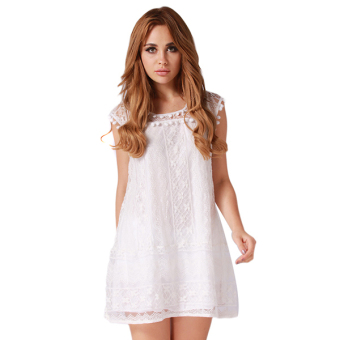 LALANG Women Lace Floral Dress Sleeveless (White) Price Philippines