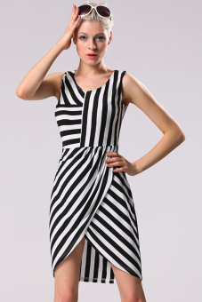 Toprank Irregular Striped Summer Mini Dress Bodycon Dress Sleeveless V-Neck And Price Philippines