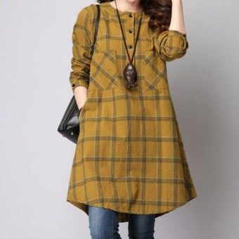 ZANZEA New Women Long Sleeve Casual Plaid Grid Restore Evening Party Short Dress zanzea_top Yellow Price Philippines