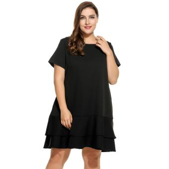 Women Short Sleeve Solid Double Layer Ruffles Hem Dress Plus Size Black - intl Price Philippines