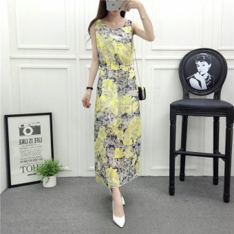 Women summer sleeveless floral chiffon yellow red maxi dress - intl Price Philippines