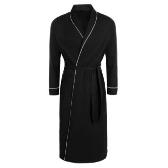 Cyber Avidlove Men's Cotton Lightweight Woven Robe Bathrobe(Black) Price Philippines