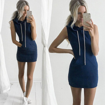 Sexy Women Boho Summer Hooded Bodycon Sleeveless Sexy Party Cocktail Mini Dress Navy - intl Price Philippines