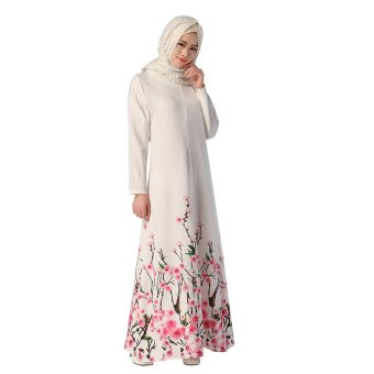 Muslim Women Abaya Long Robe Floral Pinting Dress (White) Price Philippines