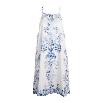 Women Summer Retro Floral Printed Hanging Neck Sleeveless Short Dress(S) - intl Price Philippines
