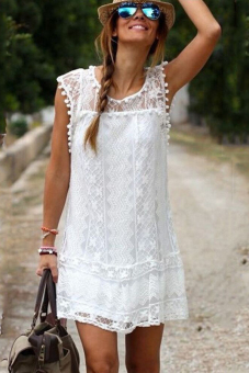 Women Summer Lace Sleeveless Plus Size Casual Solid White Dress - intl Price Philippines