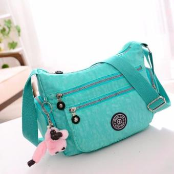 Harga Skadi JQE-8616 Side Pockets Korean Fashion Bag Nylon Waterproof Big Size Multi-pocket Bag Crossbody Shoulder Hand Bag Best Gift With Free Bag Charm(Light Green)