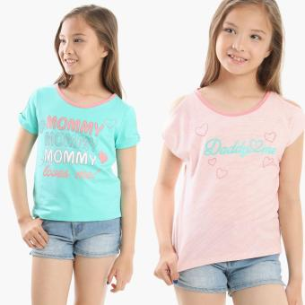 jusTees Girls 2-piece Mommy and Daddy Cold-shoulder Top Set (Size 12) Price Philippines