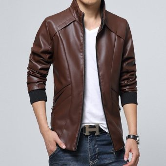 Harga NEW Fashion Men's PU Leather Jacket Slim Fit Jacket Blazer coffee