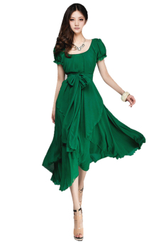 O-Neck Loose Chiffon Dress (Green) Price Philippines