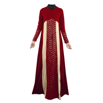 Muslim Women Lace Ethnic Long-sleeved Dress (Red) Price Philippines