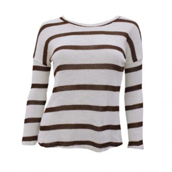 Harga Ashley Fashion A-1305 Stripe Blouse (White/Coffee)