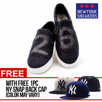 Harga New York Sneakers 2B Slip On Shoes(BLACK)with FREE NY CAP